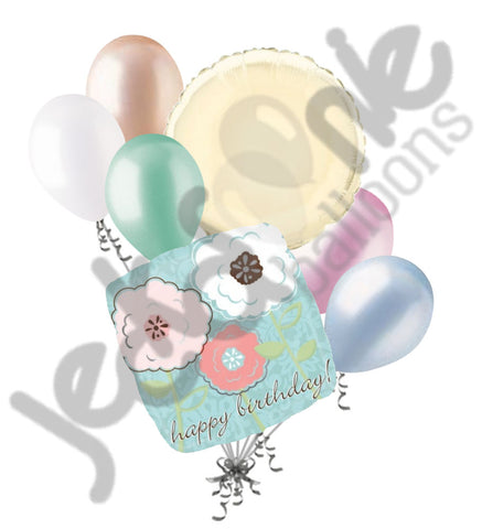 Beautiful Blue Happy Birthday Flowers Balloon Bouquet