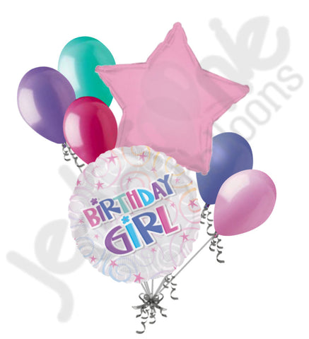 Birthday Girl Swirls & Stars Balloon Bouquet