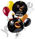 Angry Birds Black Character Shape Balloon Bouquet