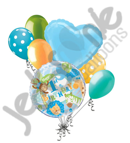 Blue Safari Happy 1st Birthday Balloon Bouquet