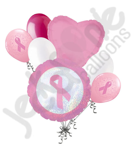 Breast Cancer Awareness Ribbon Balloon Bouquet