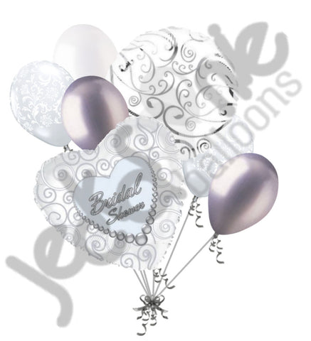 Bridal Shower Silver Swirls & White Pearls Balloon Bouquet