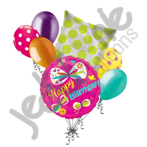 Bright Colorblast Butterfly Happy Birthday Balloon Bouquet