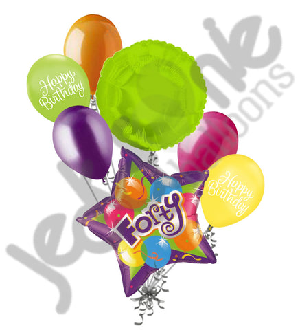 Bright & Bold Sparkling 40th Happy Birthday Balloon Bouquet