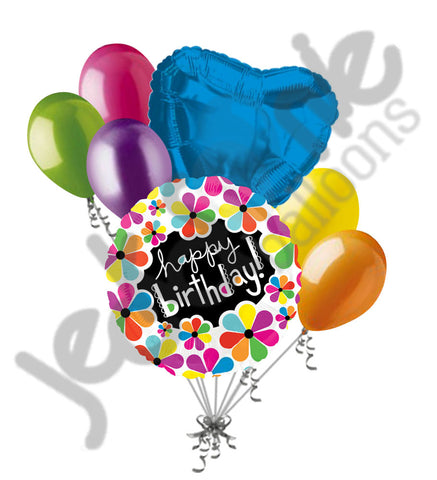 Bright & Bold Flowers Happy Birthday Balloon Bouquet
