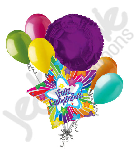 Bright Rainbow Star Feliz Cumpleanos Balloon Bouquet