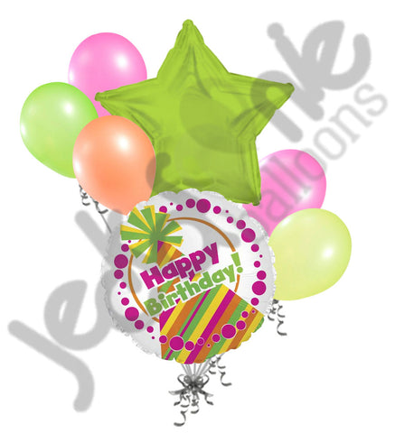 Colorful Neon Party Hat Happy Birthday Balloon Bouquet