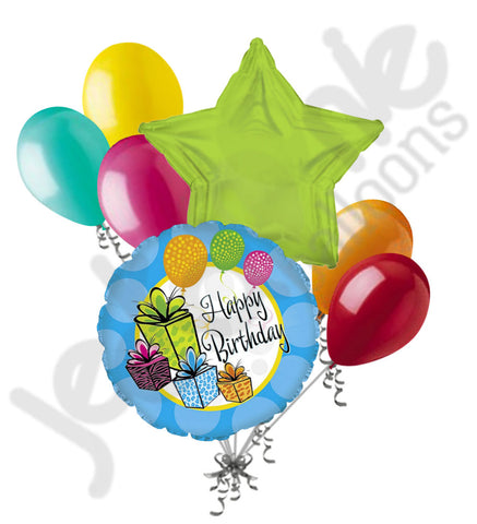 Colorful Presents Happy Birthday Balloon Bouquet
