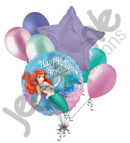 Disney Princess Ariel Happy Birthday Little Mermaid Fins Balloon Bouquet