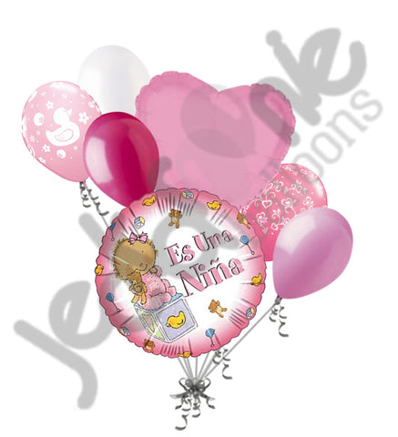 Es Una Niña Baby Girl Balloon Bouquet