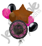 Fabulous Chocolate & Pink Damask Happy Birthday Balloon Bouquet