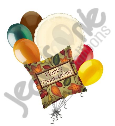 Fall Leaves Happy Thanksgiving Balloon Bouquet