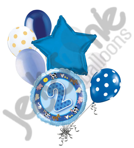Blue Farm Friends 2nd Birthday Balloon Bouquet