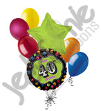 Bright Dots 40th Happy Birthday Balloon Bouquet