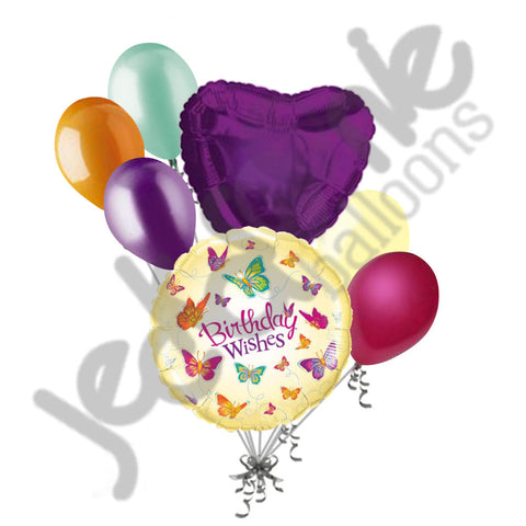 Fluttering Butterfly Birthday Wishes Balloon Bouquet