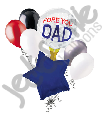 Fore You Dad Golf Ball Happy Father's Day Balloon Bouquet