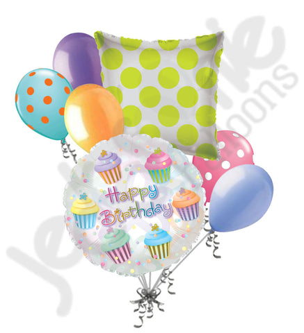 Frosted Colorful Cupcakes Happy Birthday Balloon Bouquet
