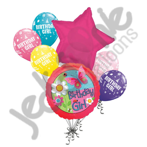 Garden Butterfly Birthday Girl Balloon Bouquet