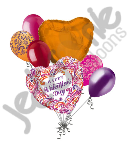 Glitzy Filigree Holographic Happy Valentines Day Balloon Bouquet