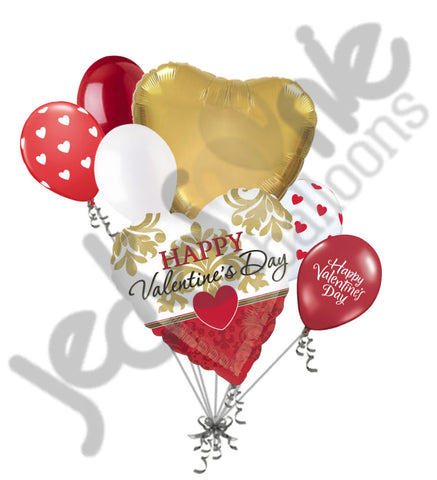 Gold & Red Damask Happy Valentines Day Balloon Bouquet