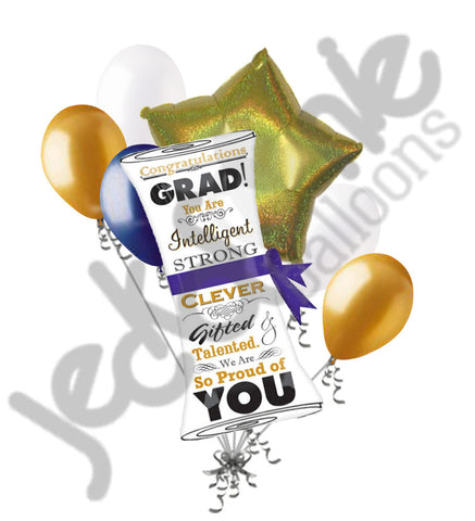 Congratulations Grad Diploma Scroll Balloon Bouquet