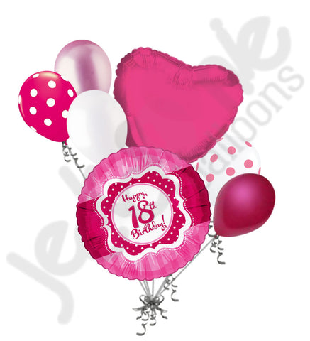 Hot Pink Polka Dots Happy 18th Birthday Balloon Bouquet