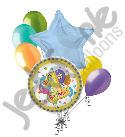 1st Happy Birthday Gender Neutral Balloon Bouquet