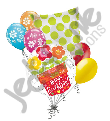 Bright Flower Pot Happy Birthday Balloon Bouquet – Jeckaroonie Balloons