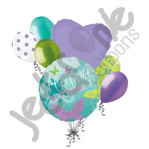 Aqua Butterfly Happy Birthday Balloon Bouquet