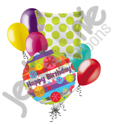 Colorful Bursts Happy Birthday Balloon Bouquet