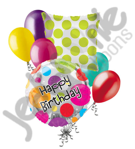 Colorful Dots Happy Birthday Balloon Bouquet