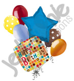 Contemporary Dots Happy Birthday Balloon Bouquet