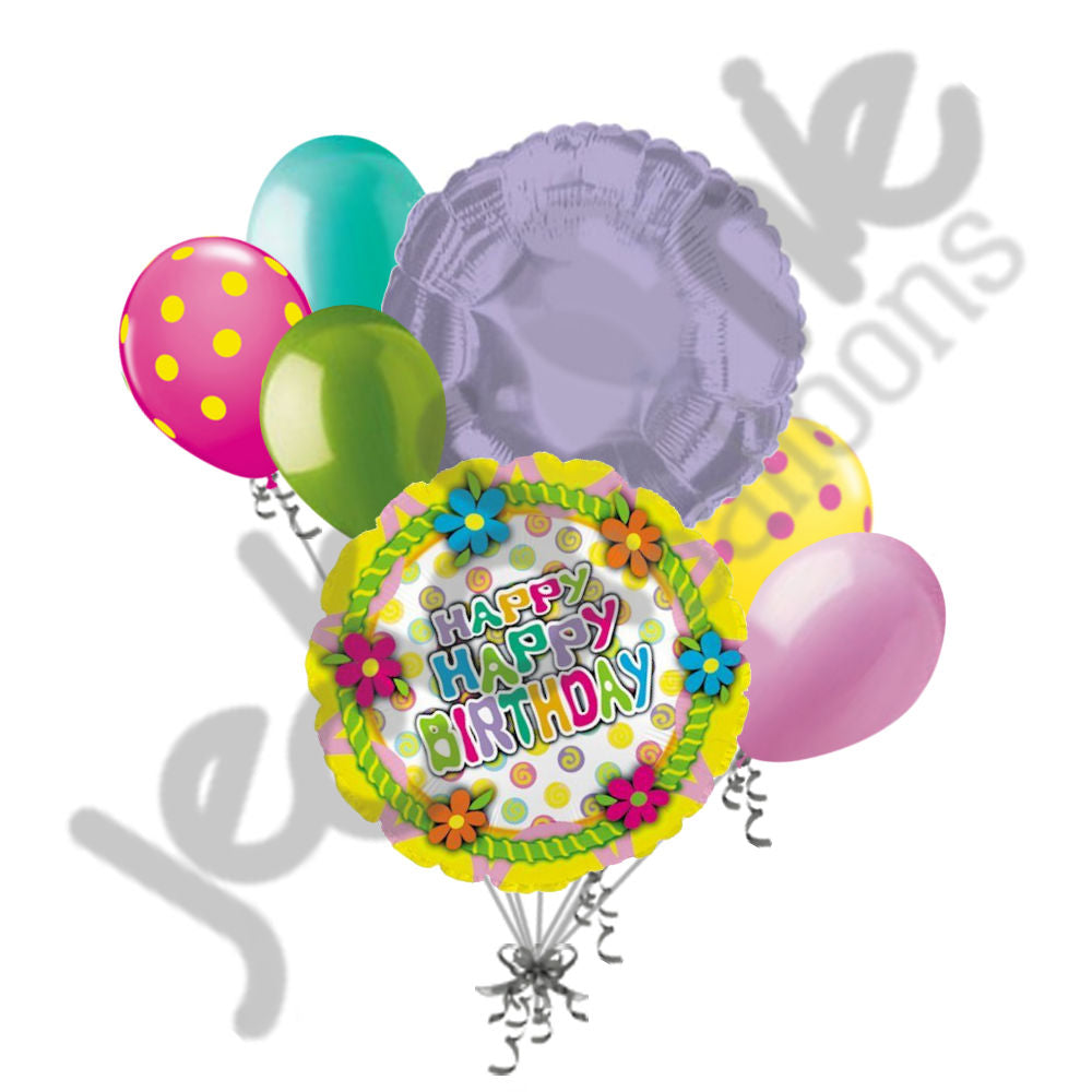 Frosted Cake Top Happy Birthday Flowers Balloon Bouquet ...