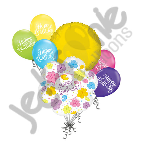 Colorful Flowers Happy Birthday Balloon Bouquet
