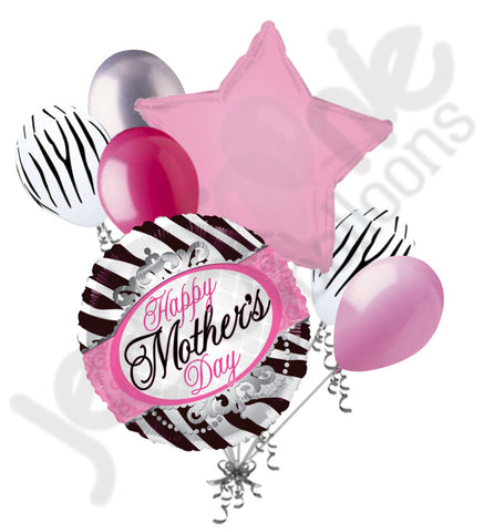 Elegant Zebra Happy Mother's Day Balloon Bouquet