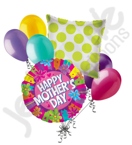 Colorful Stripes & Flowers Happy Mother's Day Balloon Bouquet