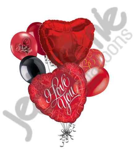 Scrolling Red Heart I Love You Balloon Bouquet