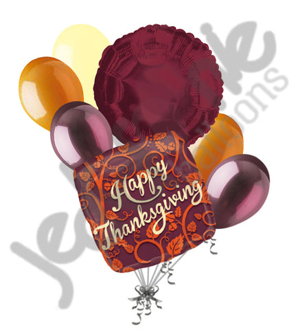Fall Leaves & Vines Happy Thanksgiving Balloon Bouquet
