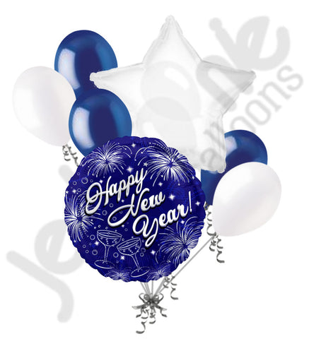 Blue Fire Works Happy New Year Balloon Bouquet