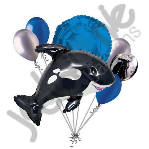 Black & Blue Orca Killer Whale Balloon Bouquet