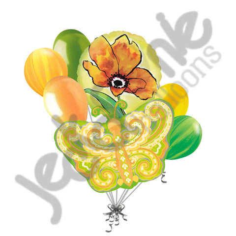 Paisley Citrus Butterfly & Yellow Flower Balloon Bouquet