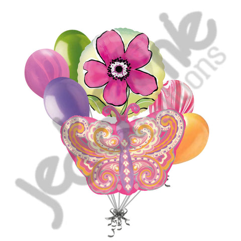 Paisley Pink Butterfly & Pink Flower Balloon Bouquet