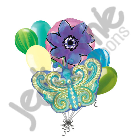 Paisley Teal Butterfly & Purple Flower Balloon Bouquet