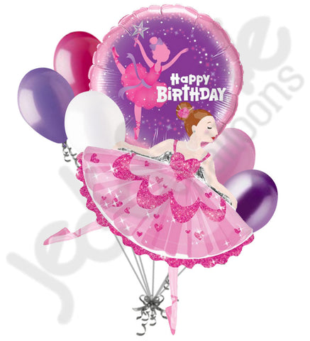 Pink Sparkle Ballerina Happy Birthday Balloon Bouquet