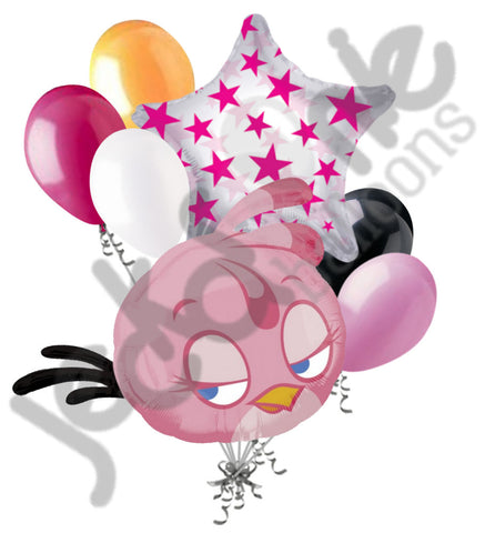 Angry Birds Pink Stella Shape Balloon Bouquet