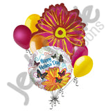 Magenta Pop Art Flower Happy Birthday Butterfly Balloon Bouquet