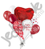 Red & White Damask Happy Valentines Day Balloon Bouquet