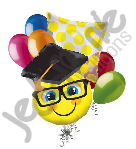 7 pc Smiley Face Grad Cap Balloon Bouquet Happy Graduation Congratulations Smile