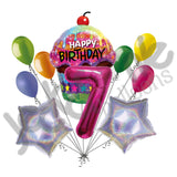 Sparkling Cupcake & Magenta Number Happy Birthday Balloon Bouquet