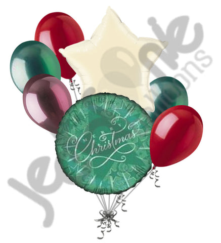 Green Starry Merry Christmas Balloon Bouquet Party Decoration Gift Emerald